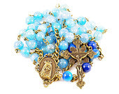 Wire Wrapped Rosary Blue Dragon Vein Agate Bronze Pardon Traditional Catholic