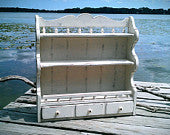 Vintage Kitchen Shelf with Drawer, Ethan Allen Wall Storage, Shabby Chic, White Home Decor, Country, Beach Style