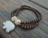 Elephant Charm Wood and Carved Bone Bead Ethnic Feel Boho Bracelet Stretch Double Band