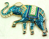 Vintage Teal Blue Warner Enameled Elephant Brooch