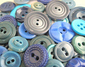 Vintage Buttons, Mixed Blue Button Lot Old Button Lot