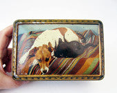 French vintage TIN BOX⎮dog & cat⎮golden Art deco style⎮lily of the valley roses bird