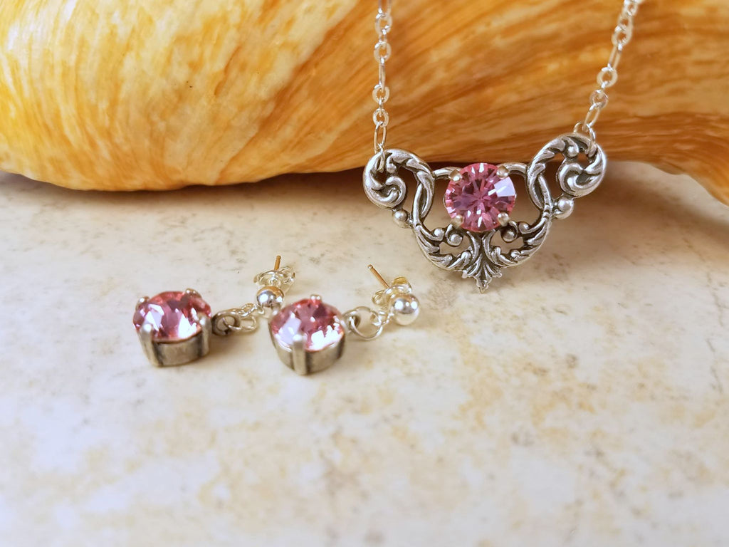 Rose Swarovski Crystal Jewelry Set