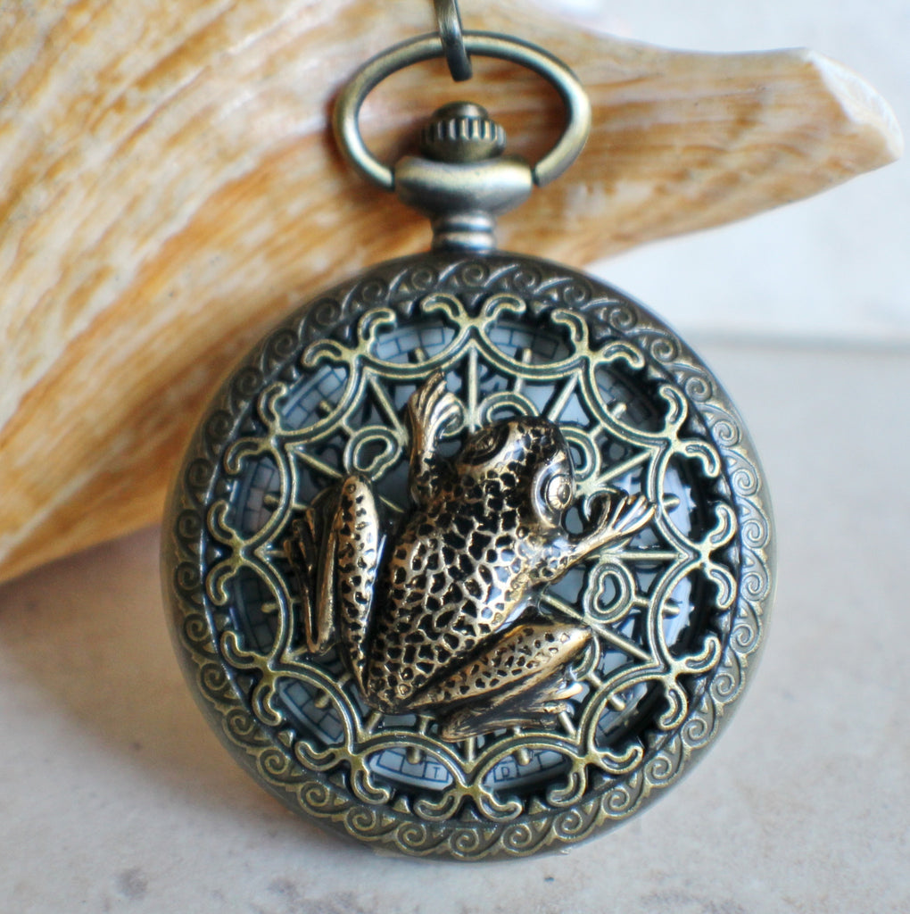 Frog pocket watch men's pocket watch, front case is mounted with bronze frog - Char's Favorite Things - 1