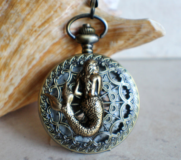 Mermaid pocket watch, men's mechanical pocket watch with mermaid mounted on front cover. - Char's Favorite Things - 1