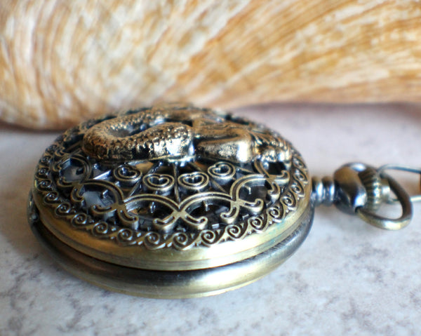 Mermaid pocket watch, men's mechanical pocket watch with mermaid mounted on front cover. - Char's Favorite Things - 2