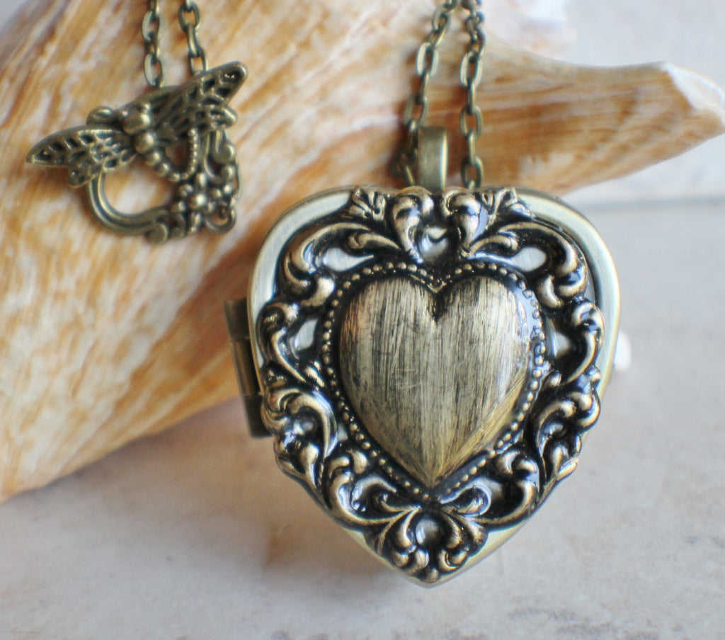 Lacey edge music box locket in bronze tone. - Char's Favorite Things - 1
