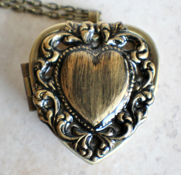 Lacey edge music box locket in bronze tone. - Char's Favorite Things - 3