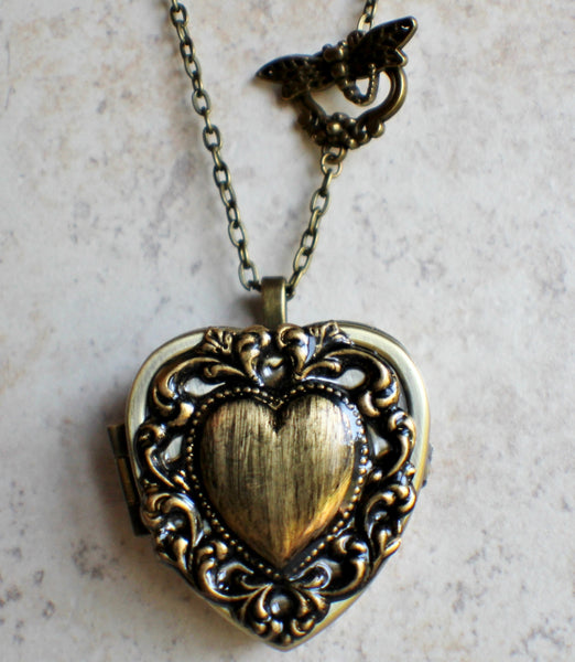 Lacey edge music box locket in bronze tone. - Char's Favorite Things - 4