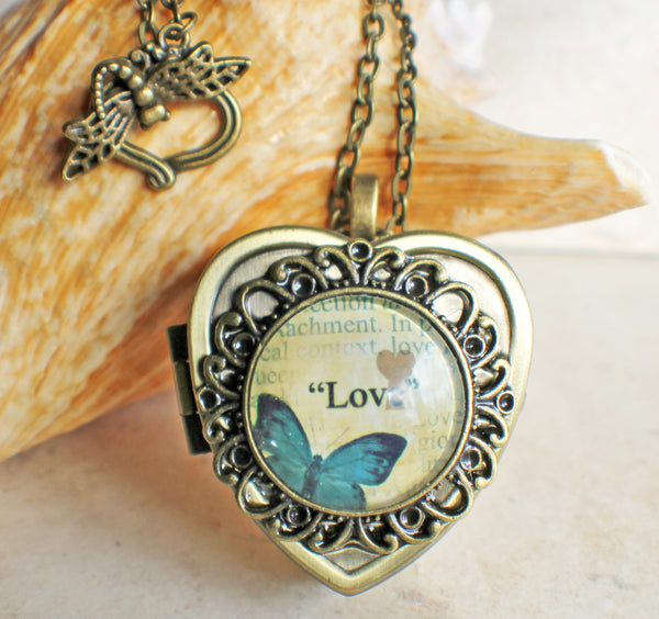 Blue Butterfly Cabochon Heart Music Box Locket in Bronze - Char's Favorite Things - 1