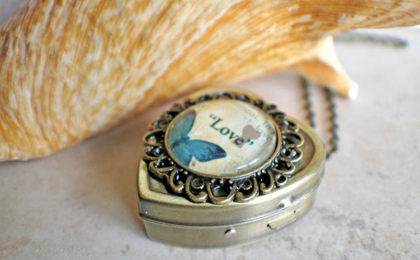 Blue Butterfly Cabochon Heart Music Box Locket in Bronze - Char's Favorite Things - 2