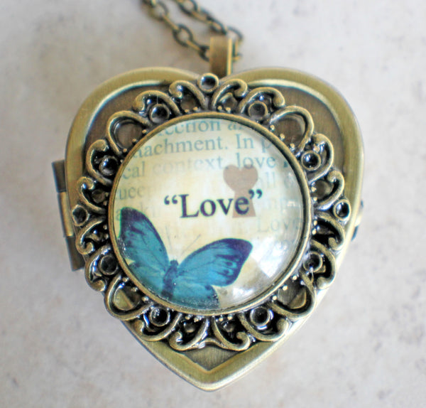Blue Butterfly Cabochon Heart Music Box Locket in Bronze - Char's Favorite Things - 3