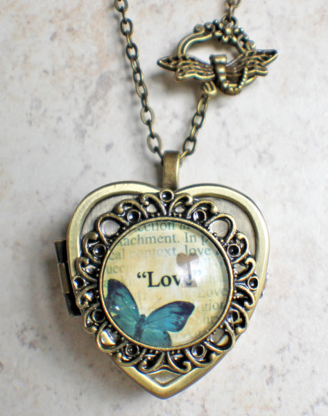 Blue Butterfly Cabochon Heart Music Box Locket in Bronze - Char's Favorite Things - 4