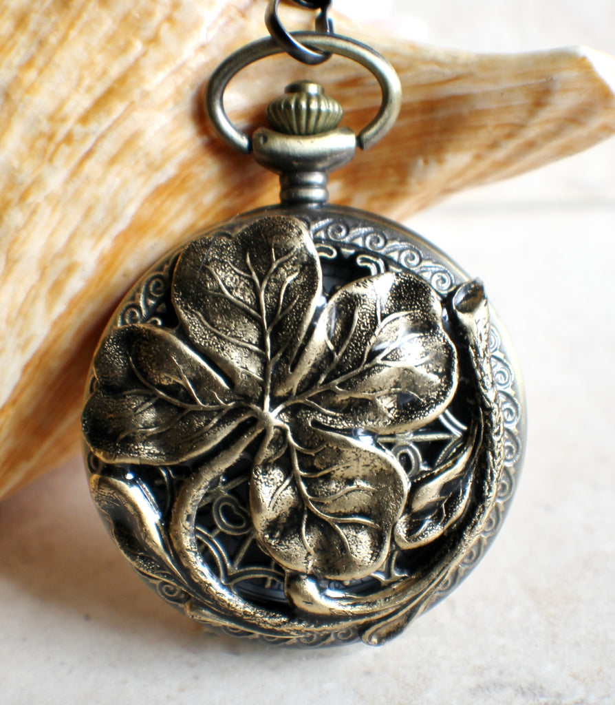 Four leaf clover pocket watch in bronze, battery operated. - Char's Favorite Things - 1