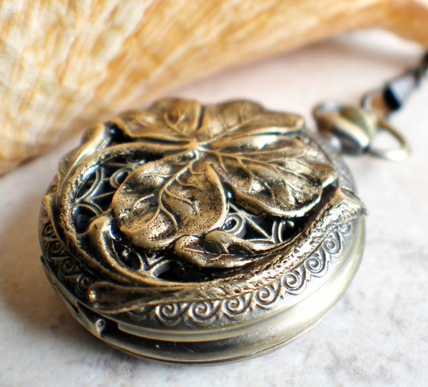 Four leaf clover pocket watch in bronze, battery operated. - Char's Favorite Things - 2