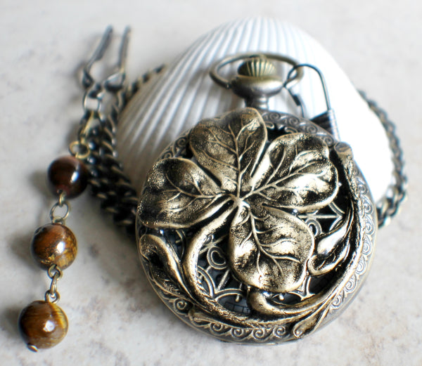 Four leaf clover pocket watch in bronze, battery operated. - Char's Favorite Things - 3