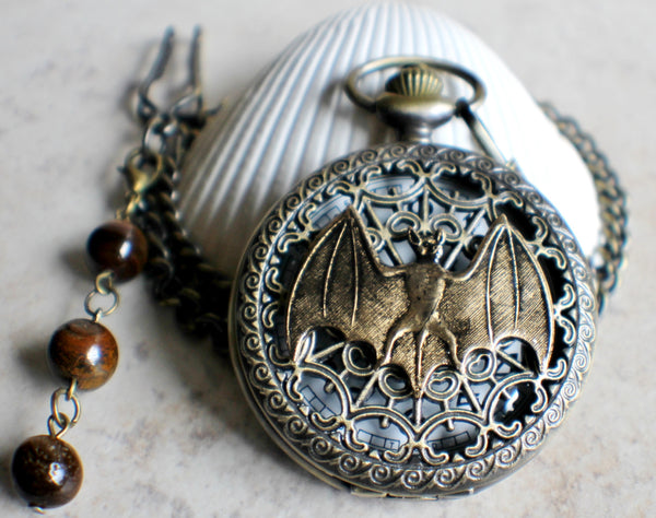 Bat battery operated pocket watch in bronze. - Char's Favorite Things - 3