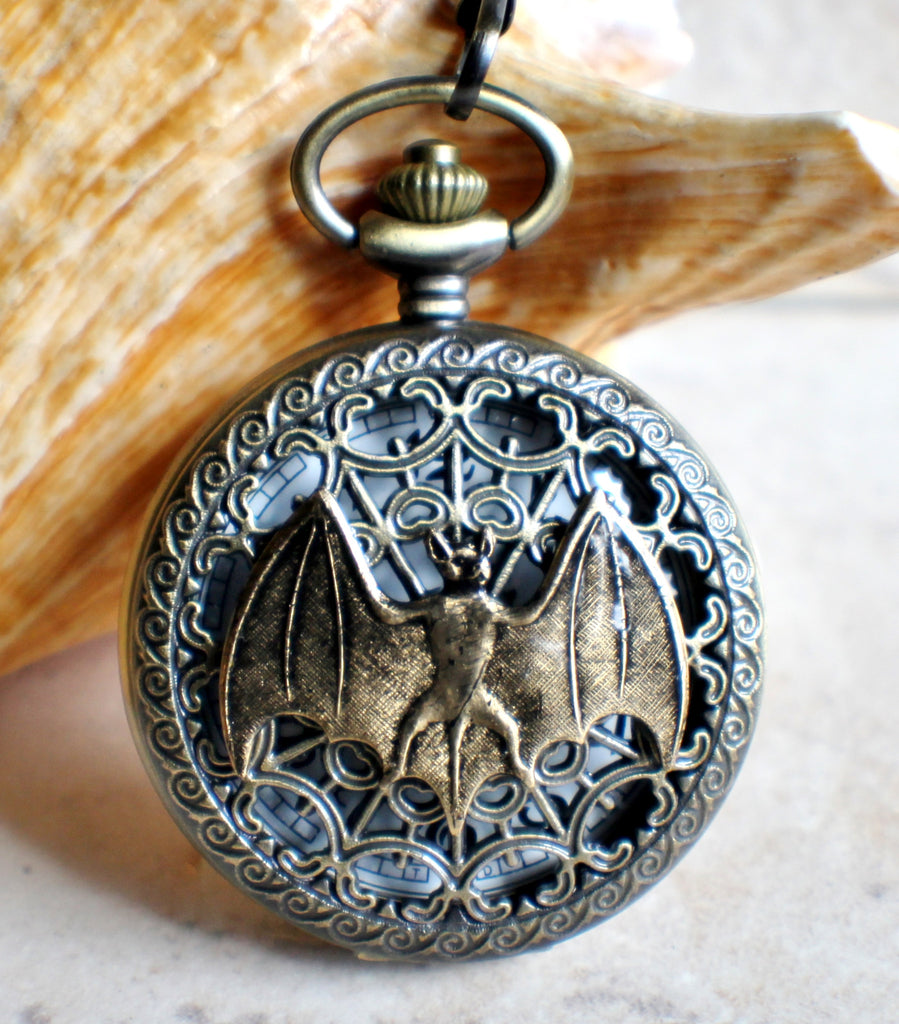 Bat battery operated pocket watch in bronze. - Char's Favorite Things - 1