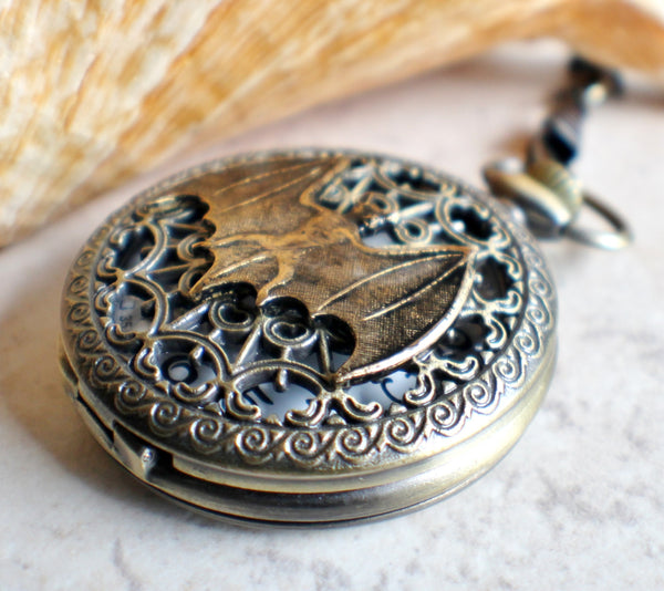 Bat battery operated pocket watch in bronze. - Char's Favorite Things - 2