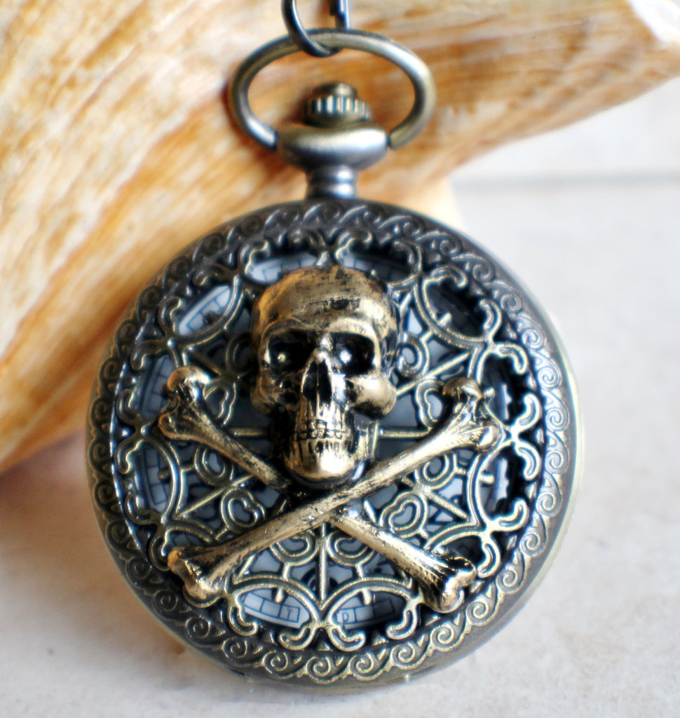 Skull and Crossbones Mechanical Pocket Watch with Black Dial - Char's Favorite Things - 1