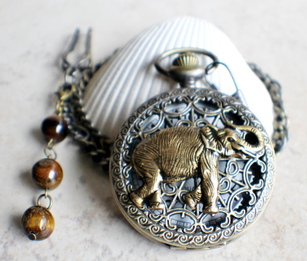 Elephant pocket watch,  Men's elephant pocket watch with tiger eye beads adorning chain - Char's Favorite Things - 3