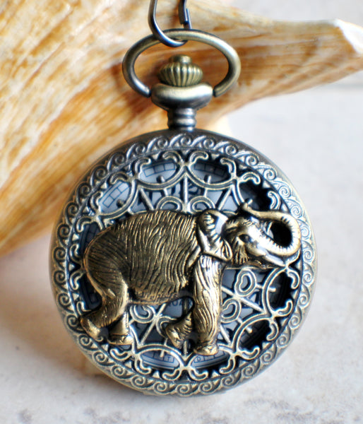 Elephant pocket watch,  Men's elephant pocket watch with tiger eye beads adorning chain - Char's Favorite Things - 1