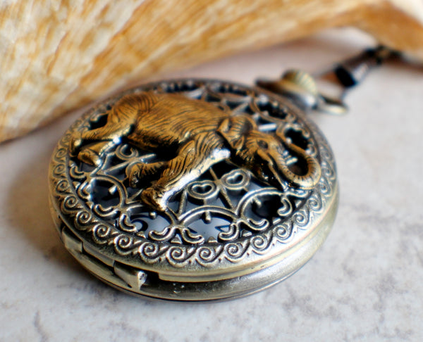 Elephant pocket watch,  Men's elephant pocket watch with tiger eye beads adorning chain - Char's Favorite Things - 2