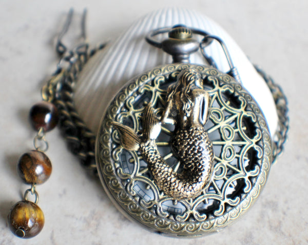 Mermaid pocket watch, mens pocket watch with mermaid mounted on front case - Char's Favorite Things - 3
