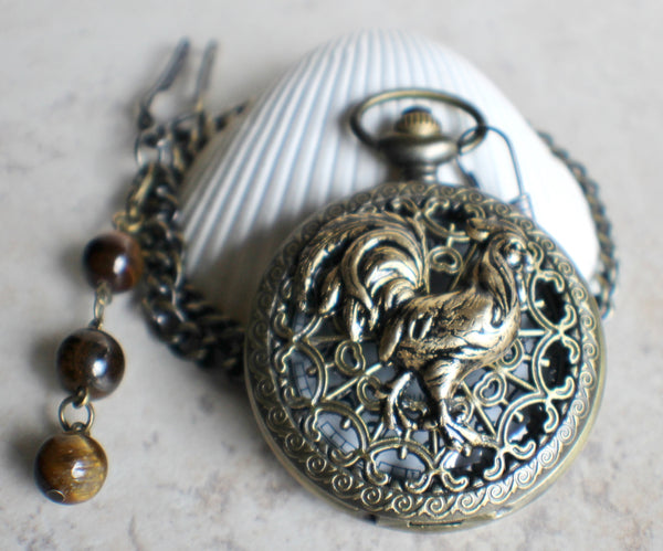 Rooster pocket watch,  Rooster pocket watch  in bronze - Char's Favorite Things - 2