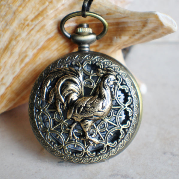 Rooster pocket watch,  Rooster pocket watch  in bronze - Char's Favorite Things - 1
