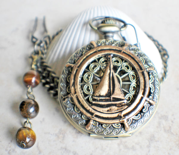 Sailboat Mechanical Pocket Watch - Char's Favorite Things - 3