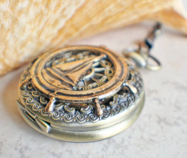 Sailboat Mechanical Pocket Watch - Char's Favorite Things - 2