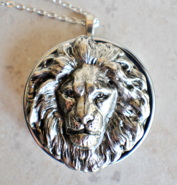 Lion Music Box Locket in Silvertone - Char's Favorite Things - 3