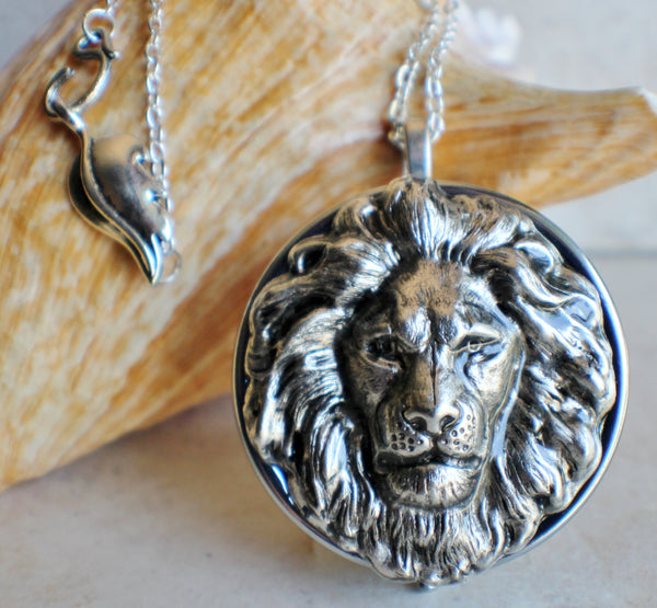 Lion Music Box Locket in Silvertone - Char's Favorite Things - 1