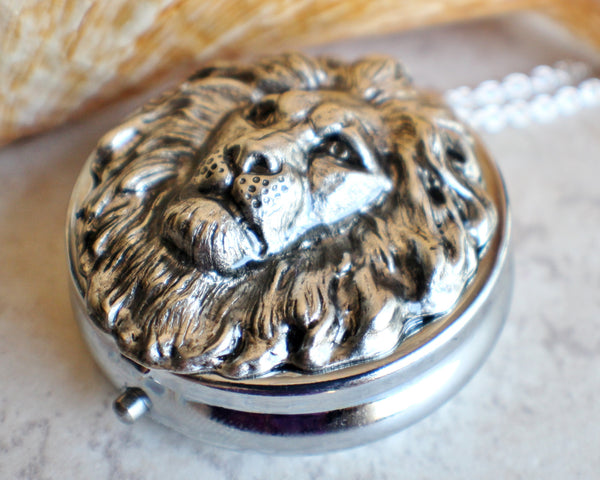 Lion Music Box Locket in Silvertone - Char's Favorite Things - 2