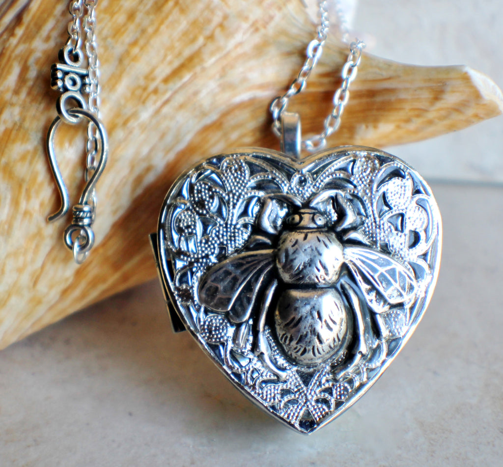 Silver Bumble Bee Music Box Locket - Char's Favorite Things - 1