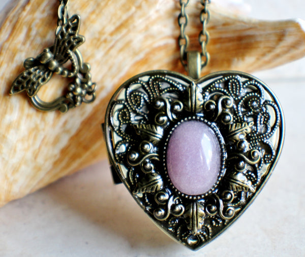 Rose Quartz Music Box Heart Locket - Char's Favorite Things - 1