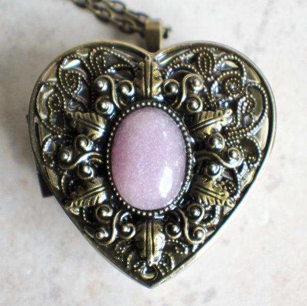 Rose Quartz Music Box Heart Locket - Char's Favorite Things - 3