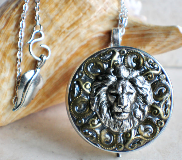 Music Box Locket with Lion Head in Silvertone - Char's Favorite Things - 1