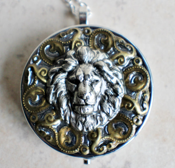 Music Box Locket with Lion Head in Silvertone - Char's Favorite Things - 3
