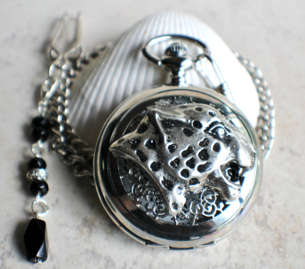 Cheetah pocket watch, mens pocket watch with Cheeta head mounted on front case in silver - Char's Favorite Things - 2