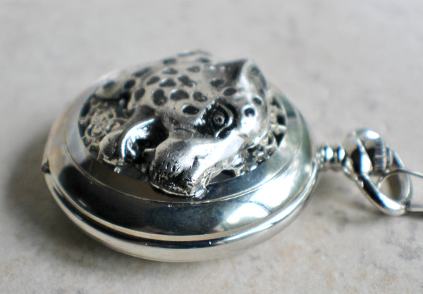 Cheetah pocket watch, mens pocket watch with Cheeta head mounted on front case in silver - Char's Favorite Things - 3