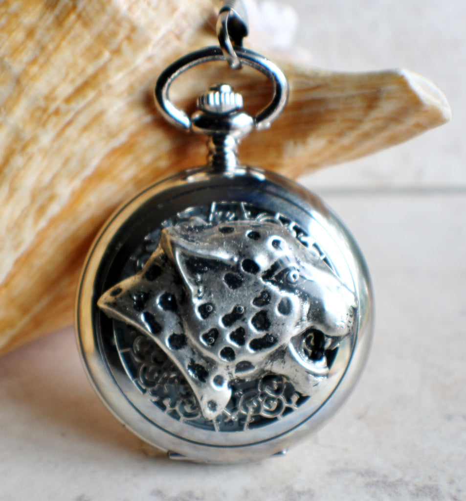 Cheetah pocket watch, mens pocket watch with Cheeta head mounted on front case in silver - Char's Favorite Things - 1