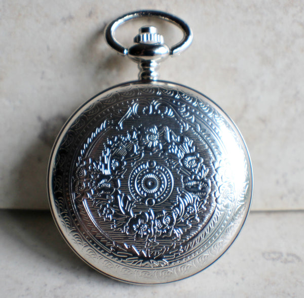 Cheetah pocket watch, mens pocket watch with Cheeta head mounted on front case in silver - Char's Favorite Things - 5