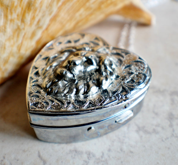 Silver Heart shaped lion music box locket. - Char's Favorite Things - 2