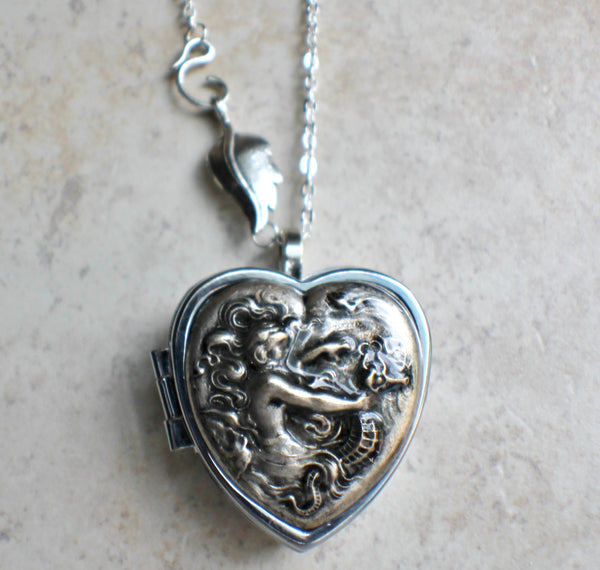 Music box locket,  heart shaped locket with music box inside, in silver with a mermaid and seahorse. - Char's Favorite Things - 4