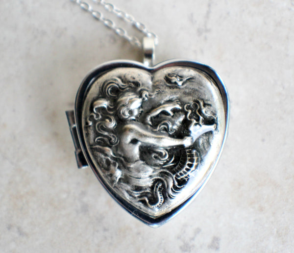 Music box locket,  heart shaped locket with music box inside, in silver with a mermaid and seahorse. - Char's Favorite Things - 3