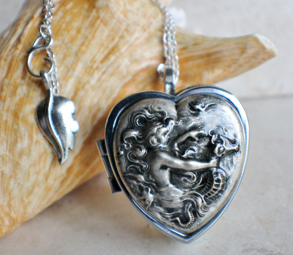 Music box locket,  heart shaped locket with music box inside, in silver with a mermaid and seahorse. - Char's Favorite Things - 1