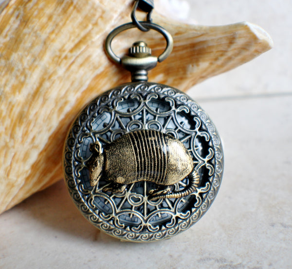 Armadillo pocket watch, mens pocket watch with armadillo mounted on front case - Char's Favorite Things - 1
