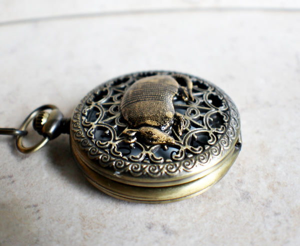Armadillo pocket watch, mens pocket watch with armadillo mounted on front case - Char's Favorite Things - 3